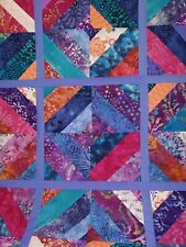Unfinished Patchwork Quilt Top - Beautiful Batiks - Handmade in Vermont