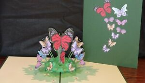 3D Pop up Butterfly's Garden Card.(Mother's day, Birthday, Get well, Blank Card)