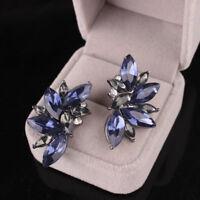 1 Pair Luxury Women Crystal Rhinestone Ear Drop Dangle Stud Earrings Jewelry