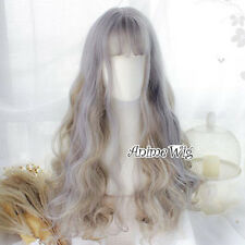 Heat Resistant Anime Cosplay Gray Mixed Flaxen Curly Lolita Full Wig With Bangs