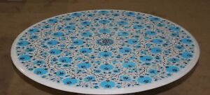 """36"""" round Marble Table Top Pietra dura turquoise stones Floral Inlay art Work"""