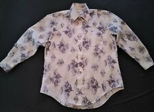 Vintage 70s Alexanders Polyester Pointy Collar  Windmills Pattern L/S Shirt