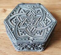 Islamic metal vintage Victorian antique hexagonal mirrored box