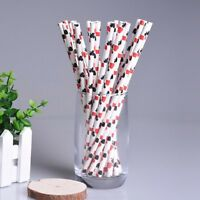 100 pcs/lot Drinking Straws Red Paper Poker Pattern Themed for Party Banquet
