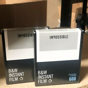 Lot of 2 - Impossible 600 Black White Instant Film for Polaroid Camera EXP 2016