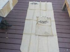NOS WWII red cross burlap jute mattress cover sack bag + pillow cover 80x38