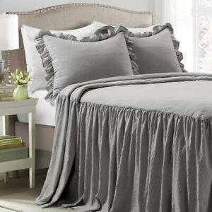 Lush Decor King Dark Gray Ruffle Skirt 3 Piece Bedspread set
