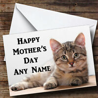 Tabby Cat Personalised Mother's Day Greetings Card