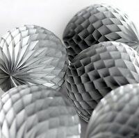 Metallic Silver tissue paper Honeycomb balls - wedding party decorations