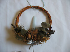 """5"""" Vine Wreath Wall Hanging w/ Blue Candle Dried Flowers Country Decor Rustic"""