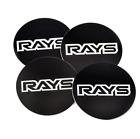 4x45mm Rays Black White Car Wheel Center Cap Emblem Sticker