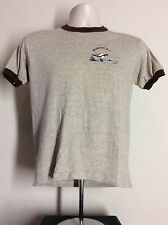 Vtg 80s Rayon Tri Blend Wildwood New Jersey Ringer T-Shirt Heather Brown S/M