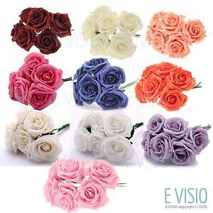 24 Luxury Artificial Foam Roses Flowers - Bouquet Buttonholes Wedding Party