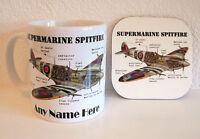 PERSONALISED Aicraft Aeroplane Gift Mug Coaster Spitfire Coffee Cup Birthday