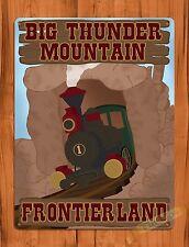 "TIN SIGN Walt Disney ""Big Thunder Mountain"" Vintage Art Ride Poster"