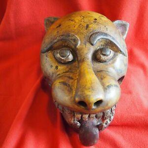 Antique Carved Wood Tiger Mask Made in Rajasthan