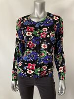 Talbots Womens Cardigan Lp Black Floral Thin Knit Button Front Long Sleeve New