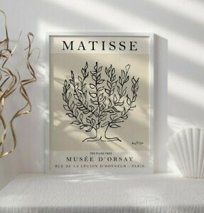 Matisse Beige Floral Exhibition Poster, Matisse Print, Flower Wall Art Decor