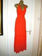10 VERY BRIGHT ORANGE COOL MAXI DRESS HALTER NECK PARTY SUMMER HOLIDAY NEW