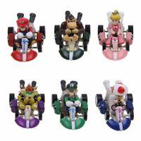 6PCS Super Mario Bros Kart Luigi Pull Back Car Action Figure Doll Kids Toys Gift