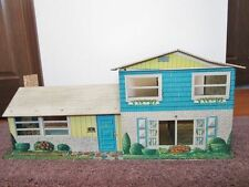 """Vintage T Cohn Tin Dollhouse, """"contemporary"""" style, exl cond, with furniture"""