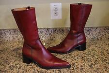 NWOB NONNINO BURGUNDY MID CALF LEATHER POINTY  BOOTS SIZE 36/6 (BOTA500