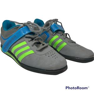 Adidas Powerlift 2.0 Weightlifting m18769 UK 10 Grey Neon Green Solar Blue