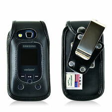 Samsung Convoy 4 Flip Phone Case Black Leather Rotate Removable Clip Turtleback