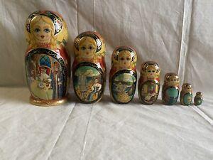 Vintage Ceprneb Tiocaa 7 Pc Nesting Stacking Dolls