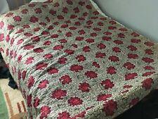 More details for antique welsh durham quilt red roses reversible cream/orange 208x188cm