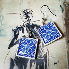 Unique Handmade CORNFLOWER TILE EARRINGS blue white PORTUGUESE vintage PORTUGAL