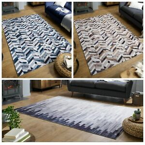 DAKOTA FAUX COUNTRY WILD LIFE STYLE VELVET TOUCH FLAT GREY BLUE BROWN RUG 2 SIZE