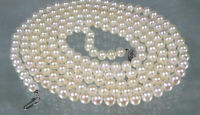 """Genuine AAA+ 5.5-6mm round white akoya pearl necklace 18 """" 14k white gold clasp"""