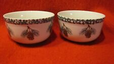 Lot of 2 Folk Craft Tienshan Pine Cone Stoneware Soup Cereal Bowls