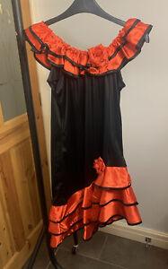 Red And Black Spanish Flamenco Costume Dress Ladies