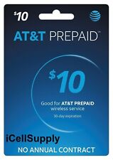 Brand New At&T 10$ Prepaid Refill Card Fast 30 minute Delivery! 9- 5Pm Est