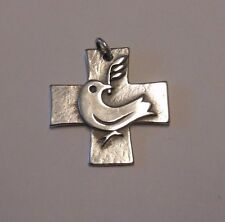James Avery LARGE Sterling Silver DOVE WITH OLIVE BRANCH  Pendant Retired