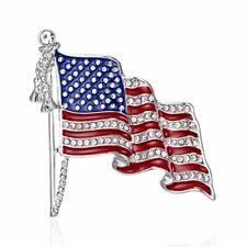 Fashion American Flag Rhinestones Crystal Brooch Pin Elegant Women Jewelry Gift