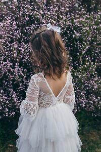 Flower Girl Lace Dress Communion CAKE SMASH Dress WHITE | PEACH | DUSKY PINK
