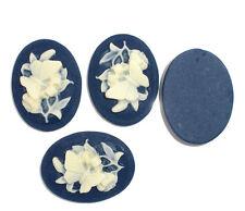 10 Camée Fleur Résine Ovale Embellissement Bleu foncé 29x22mm