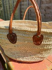 French Shopper Shopping Bag Tote Leather Handles