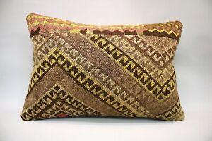 Kilim Lumbar Pillow, 16x24 inc, Decorative Throw Pillow, Handmade Vintage Pillow