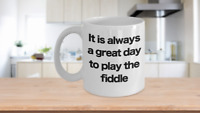 Fiddle Mug White Coffee Cup Funny Gift for Fiddler Musician Performer Head V