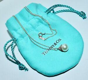 Rare Authentic Tiffany & Co Ziegfield Stg Silver Pearl Pendant & Chain In Pouch