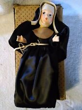 Vintage Composite Catholic Nun Doll With Good Cross Black Habit 11inches Tall