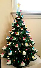 """Vintage Electric 20.5"""" CHRISTMAS TREE Ceramic w Snow and Lights 3 Tier & Stand"""
