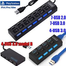 For PS4/Pro/Slim 4-Port /7 Port USB 3.0 Hub ON/OFF Splitter Multi Charger Power