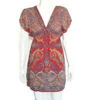 ANGIE Beautiful Colors Red Blue Empire Tunic Top Boho Festival size Medium 798