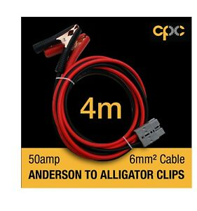 4m Alligator Battery Clamp 50A for ANDERSON PLUG Cable 4x4 4WD Van solar 12v
