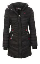 Geographical Norway mujer chaqueta de invierno abrigo forrado Parka largo negro L - 40